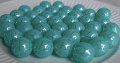 20mm aqua and silver quarterfoil print bubblegum bead (10ct) gumball beads wholesale beads chunky necklace beads girl's jewelry  party favor by PinkPolkaDotHearts on Etsy
