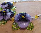 Perfect Pansies -  Handmade Lampwork Glass Bead Colourful Purple Pansy Flower Silver Artisan Necklace Handmade Jewellery, Pansies, Etsy Seller, Necklaces, Purple, Create, Unique, Flowers, Handmade Jewelry