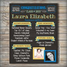 Graduation Chalkboard High School Graduation Party Milestones Poster, Grad Party Decoration Board, Graduate Sign Memories Decor by PRINTSbyMAdesign on. Graduation Celebration, Graduation Party Decor, High School Graduation, Grad Parties, Graduation 2016, Grad Party Decorations, High School Memories, Graduation Open Houses, Party Poster