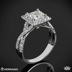 Verragio Square Halo Diamond Engagement Ring from the Verragio Couture Collection.