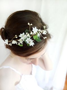 ivy head wreath ivory flower hair circlet green by thehoneycomb, $85.00 THIS PERSON MAKES CUSTOM HAIR WREATHS!!