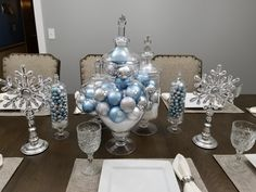 Absolutely in love with how beautiful Christmas decorations turned out.  Makes our dining room look even more classy. Big Christmas Tree, Silver Christmas Decorations, Winter Wonderland Christmas, Christmas Room, Beach Christmas, Christmas Centerpieces, Christmas Holidays, Christmas Crafts, Silver Winter Wedding