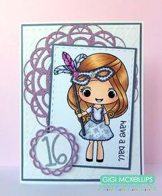 The Cricut Bug: Stamp AnnieThing December Release Day 1- Giselle- Have A Ball Sweet 16 Card