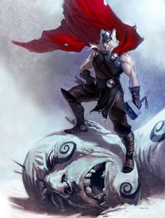 Marvel Thor Frost Giant Mjolnir Wallpaper - cut and shrinked