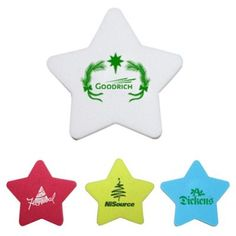 """Custom Printed Star Shaped Die Cut Erasers - 4 Colors: Available Colors: Red , Yellow , White , Blue. Product Size: 2"""" W - Approx. Carton Weight: 10 lbs. Packaging: 1000. Material: Rubber. #StarShaped #customdiecuteraser #promotionalproduct #customproduct #christmasgiveaways"""