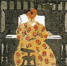 At The Piano, Ethel Mars (1876-1959) was a painter and printmaker who exhibited regularly as part of the avant garde art world of Paris in the early 20th Century and with Provincetown artists during WWI.