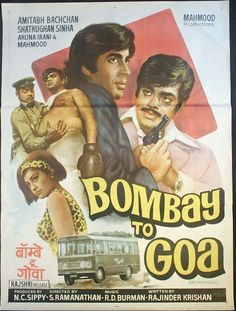 Bombay to Goa (1972),  Amitabh Bachchan, Classic, Indian, Bollywood, Hindi, Movies, Posters, Hand Painted