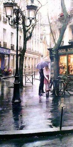 Rain - Paris - France - By Krioutchenko Andrei Oh Paris, I Love Paris, Montmartre Paris, Little Paris, Paris Travel, City Lights, Street Lights, Rainy Days, Belle Photo