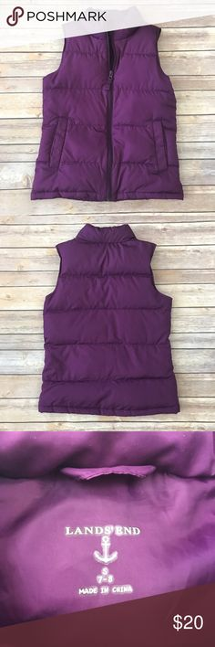 Lands' End Puffy Vest Purple puffy zippered vest. Has pockets. Polyester outer with 80% down/20% feathers inner. Labeled Sz 7/8. 19681-525 Lands' End Jackets & Coats Vests