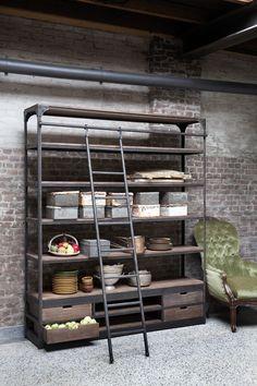 New vintage stellingkast, industriële stellingkast met trap