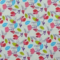 Piqué de coton imprimé fleurs et feuilles rouges