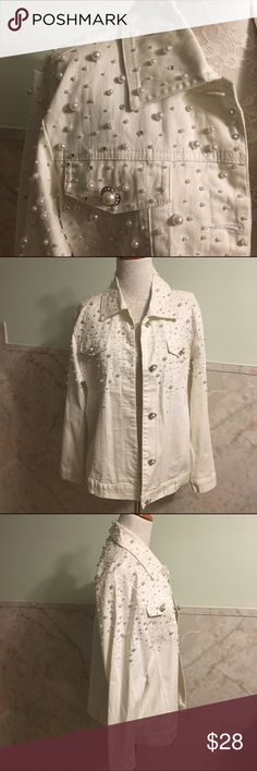 Quacker Factory Pearl & Rhinestone Denim Jacket This is a beautifully embellished jacket by Quacker Factory in a size small. It's a white denim background covered with pearls and topped off with little rhinestones. The buttons down the front match the cuff buttons. Material is cotton and spandex. Quacker Factory Jackets & Coats Jean Jackets