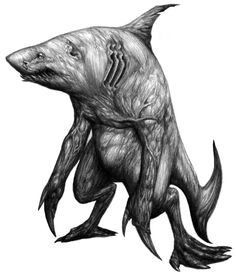 Dakuwaqa- Fijian myth: the shark god. He can turn into many forms but his true form is a muscular man with the forebody of a shark.