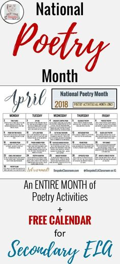 This blog shares an ENTIRE MONTH of poetry activities for Secondary English Language Arts and includes a FREE calendar! Bespoke ELA