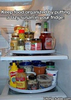 lazy susan in the fridge to keep it organized