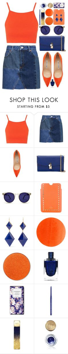 """""""Contrast: Blue and Orange"""" by atarituesday ❤ liked on Polyvore featuring Topshop, Manolo Blahnik, Dolce&Gabbana, Spitfire, Valentino, Marie Hélène de Taillac, Illamasqua, NYX, Michael Kors and Bobbi Brown Cosmetics"""