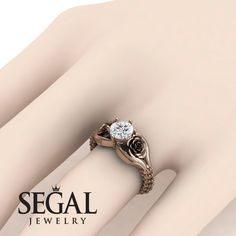 Rose Gold Engagement Ring : The Rose Spike Diamond Ring- Camilla no. 2 Rose Gold Engagement Ring by Segal Jewelry Sharing is caring, don't forget to vote Unique Diamond Engagement Rings, Princess Cut Engagement Rings, Wedding Ring Bands, Unique Rings, Diamond Rings, Sapphire Rings, Bridal Rings, Blue Sapphire, Diamond Anniversary