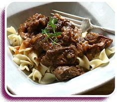 Beef Carbonnade recipe - Created by Julie Van Rosendaal Dutch Oven Set, Buttered Noodles, Slow Cooker, Van, Beef, Cooking, Recipes, Food, Meat