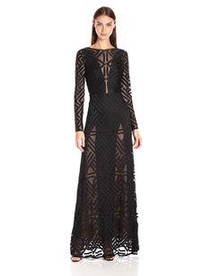 BCBGMax Azria Women's Veira Knit Evening Dress, Black, 2. Concealed back zipper. Sheer geometric lace. Floor-length hemline. Mid-weight, stretch fabric. True to fit.