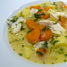 """Greek fish soup with egg and lemon sauce: The """"Psarosupa me awgolemono"""" is more of a main meal as an appetizer and a classic recipe among Greece. Mainly fish in larger pieces, potatoes, carrots and parsley. Of course in the end lemon scramble with egg. #greek #fishsoup #classics #carrots #potatoes #lemon #psarosupa #awgolemono"""