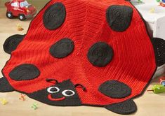 crochet ladybug rug or throw Crochet Home, Knit Or Crochet, Crochet For Kids, Crochet Crafts, Crochet Projects, Free Crochet, Crochet Afghans, Baby Blanket Crochet, Crochet Patterns