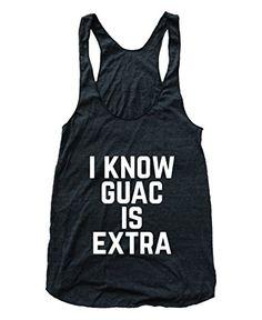 Women's I Know Guacamole is Extra Chipotle Guac Flowy Athletic Racerback Tank Top black RexLambo http://www.amazon.com/dp/B015JSTSQ4/ref=cm_sw_r_pi_dp_L3k.vb1RRMD0B