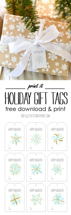 Free Printable Holiday Gift Tags - Snowflake Christmas Gift Tags - Free Download and Print Gift Tags