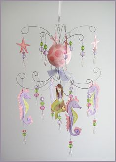LOVE this!  Purple and Pink Mermaid chandelier mobile by fischtaledesigns, $155.00