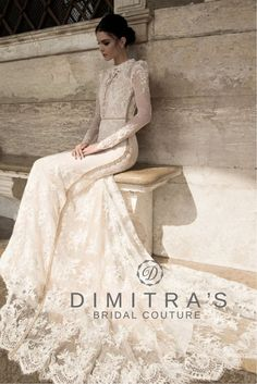 Inbal Dror available at Dimitra's Bridal Couture www.DimitrasBridal.com #inbaldror #lace #lacetrain #fitandflare #beaded #sidelining #highneckline #longsleeves #illusion #deepV #neckline #buttonedsleeves #thinbelt #israelibridal #bridalgown #hautecouture #designer