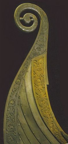 Carved dragons on restored prow of the Oseberg Ship   8th century CE. Oseberg, Norway