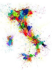 Italy Art - Italy Map Paint Splashes by Michael Tompsett