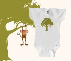Organic monkey ONESIE BODYSUIT, monkey baby clothes, baby boy or baby girl, caption