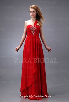 Fascinating One Strap Sweetheart Layered Chiffon Red Evening Clothing