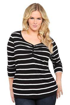 Twist Tees - Black Striped Sweetheart Henley