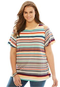 Woman Within Womens Plus Size Short Sleeve Cold Shoulder Tee White Multi Stripe3032 -- Learn more by visiting the image link. (This is an affiliate link)