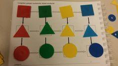 Moniste 1b opeopas s.210. Esim. Vaakatasoon muuttuu väri ja pystytasoon muoto. Tehtävän voivtehdä myös niin, että jokainen laittaa vuorollaan yhteen alustaan. Virheen saa korjata.