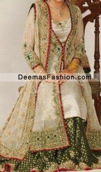 Off White Green Lehnga With Gown Style Long Shirt - Latest Designer Dresses - Fashion Wear 2020 - Bridal & Formal Fashion Wear, Fashion Dresses, Fashion 2020, White Bridal Dresses, Bridal Outfits, Pakistani Wedding Dresses, Lehenga, Anarkali, Mehndi