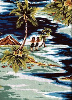 20 isles Tropical Hawaiian Vintage Hula Girls, Diamond Head, palm trees, scenic print - on a cotton Hawaiian apparel fabric.