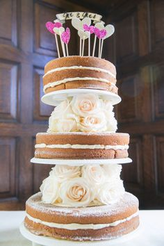 The design of the wedding cake isn't my style. What's cool about it is that it's 3 separate cakes set up to give the visual appeal of 1 tiered cake. Which makes it convenient to cut....