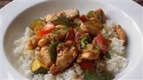 Honey Nut Chicken Stir Fry  I figured the points.... 6p+    this does serve six---I just checked--this is NOT counting rice...or whatever you serve it on....  be sure to read the comments...