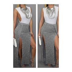 Rotita Round Neck Sleeveless Double Slit Maxi Dress ($14) ❤ liked on Polyvore featuring dresses, outfit, grey, grey sleeveless dress, gray dress, pattern dress, double slit dress and sleeved maxi dress