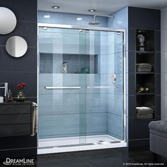 DreamLine Encore 32 in. D x 54 in. H Semi-Frameless Sliding Shower Door in Satin Black with Center Drain White DreamLine Encore 32 in. D x 54 in. H Semi-Frameless Sliding Shower Door in Satin Black with Center Drain White Base Frameless Sliding Shower Doors, Frameless Shower Enclosures, Sliding Doors, Steam Shower Enclosure, Neo Angle Shower, Shower Base, Shower Kits, Shower Ideas, Bathroom Ideas