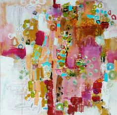 In love with circles and scratches 30 x 30 inches Wendy Mc Williams artist