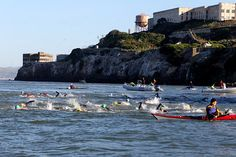 Open water swimming by Alcatraz.  I've done this!