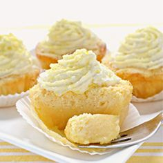 Lemon Magic Cake Cupcakes - custard 1 batter 3-layer cake turned into cupcakes; nice lemon aroma; not too sweet.