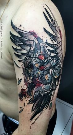 Watercolor tattoo Felipe Rodrigues coruja