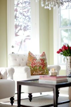 Tufted pieces is something I love to incorporate into a room.  Gives the room a level of comfort.
