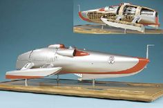 A FINE MUSEUM DISPLAY QUALITY 1:8 SCALE MODEL OF THE ATTEMPTED RECORD-BREAKING JET-PROPELLED HYDROPLANE CRUSADER, DESIGNED BY REID RAILTON A...
