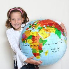 While not the most correct as far as outlines of countries, this can still give the children an idea of the concept of the shape of the earth and the distance between different countries and continents.