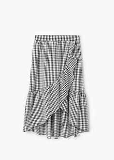 Gingham print skirt | MANGO